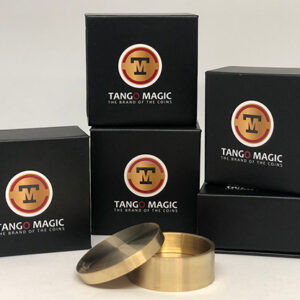 Okito Coin Box (BRASS w/Online Instructions)(B0028) One Dollar by Tango Magic – Trick